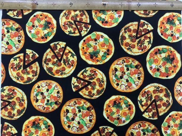 布「ピザ」リアルプリント<br>綿100% 110cm幅 30cm以上10cm単位でお切りします。<br>シーチングくらい普通の厚さです。<br><br>店頭でも販売しています。在庫数は、実際の数字とは異なる場合があります。<br>ご了承ください。<br><br>