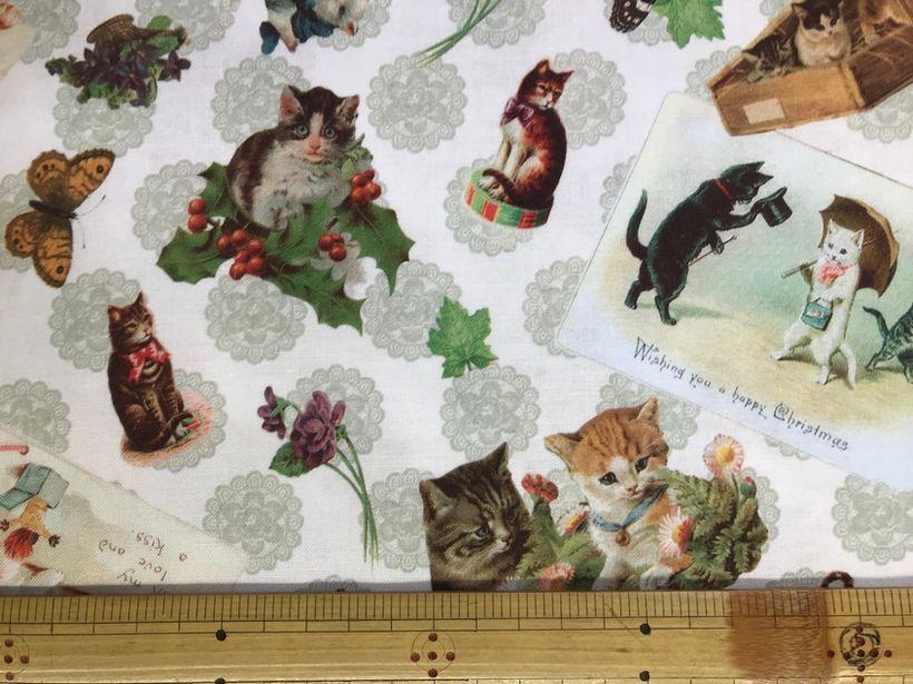 布「 猫とタテハ」<br><br>綿100% 110cm幅 30cm以上10cm単位でお切りします。<br>価格は、10cmの値段です。<br>シーチングくらい普通の厚さです。<br><br>店頭でも販売しています。在庫数は、実際の数字とは異なる場合があります。<br>ご了承ください。
