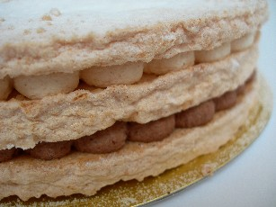 ダコワーズ生地の間に木の実とチョコレートクリームをサンド、キャラメリゼしたナッツ入り。