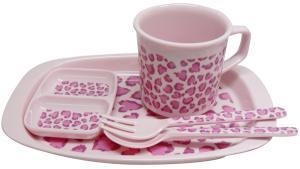 マグカップ・スプーン・フォーク・2ッ切小皿・ミニトレイの5点セットになります。