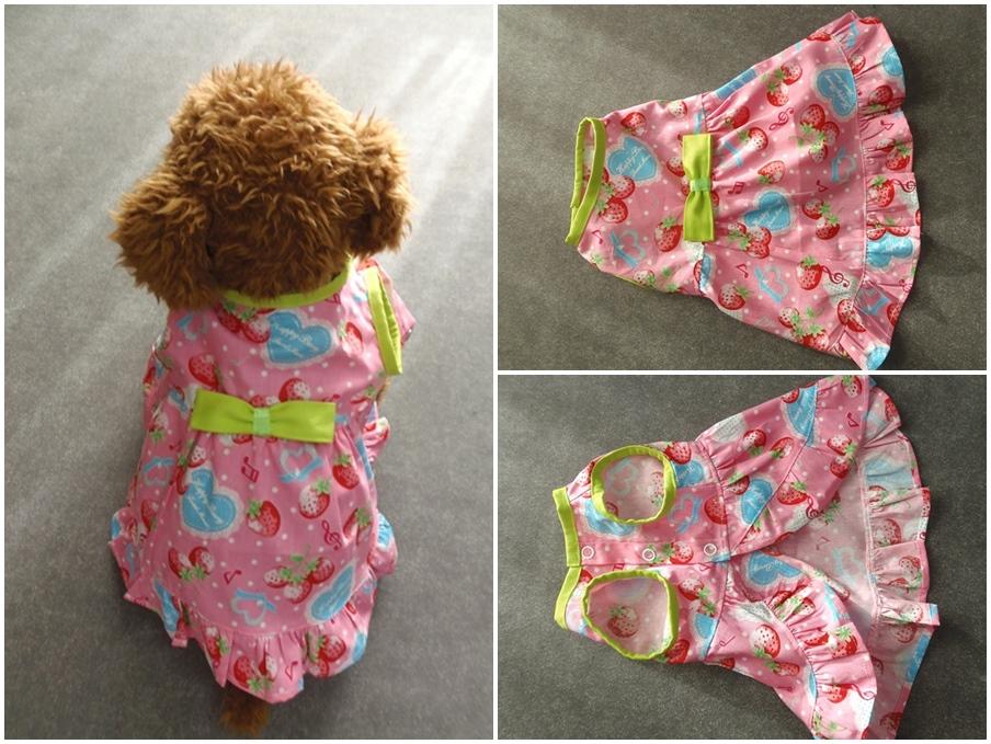 <p>首回り26cm</p><p>胴回り41cm</p><p>着丈30cm</p><p>イチゴ模様のドレスにイエローグリーンのリボンを付けた</p><p>春のお洋服です</p>