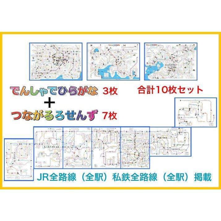 """<font size=""""4""""><b>つながるろせんず 7枚+でんしゃでひらがな3枚セット 、</b></font><br><font color=""""#cc0000"""">日本全駅をひらがな表示した路線図です。</font><br>"""