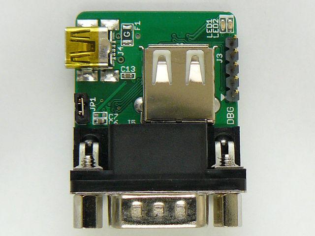 D-SUB、USB A、USB MiniBと3つのコネクタが見えます