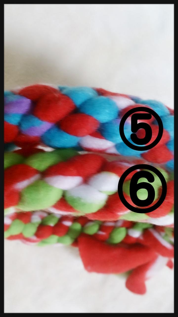 お色見本 ⑤水色×赤 ⑥黄緑×赤