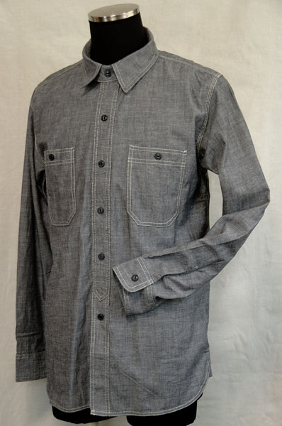 1940's Style Black Chambray Work Shirt