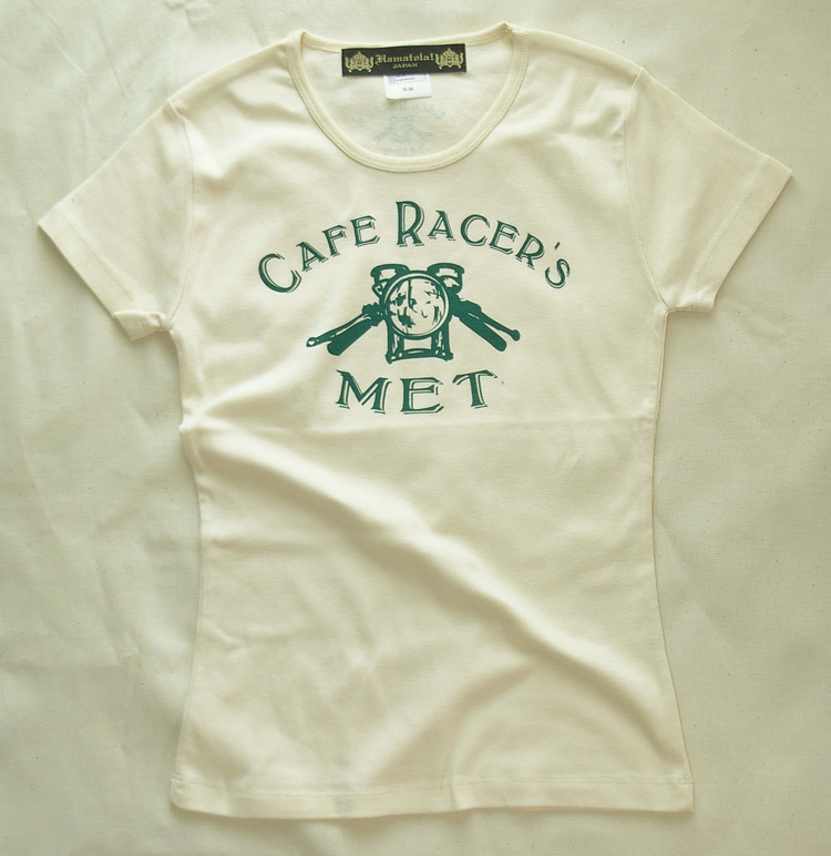 【Cafe Racer's MET】Lady's T-SHIRTS (Back Print)Natural
