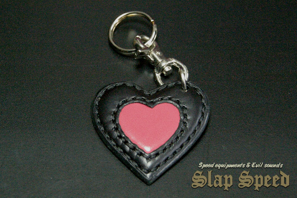 【FLAT FIELD】LEATHER KEY RING / Black×Pink