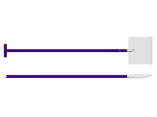ハーフパイプ用に開発されたプロフェッショナルモデル<br> <br>固められたパイプの壁を、きれいにカットして仕上ることができます。<br>シャフトは2段階に伸縮可能(最長約3m)で、ボトムからの作業を容易にします。<br>パイプシェーパーのブレードは、両脇がL字に立ち上がっており、<br>まわりの雪が崩れるのを防いで微細な仕上がりを可能にします。<br> <br>