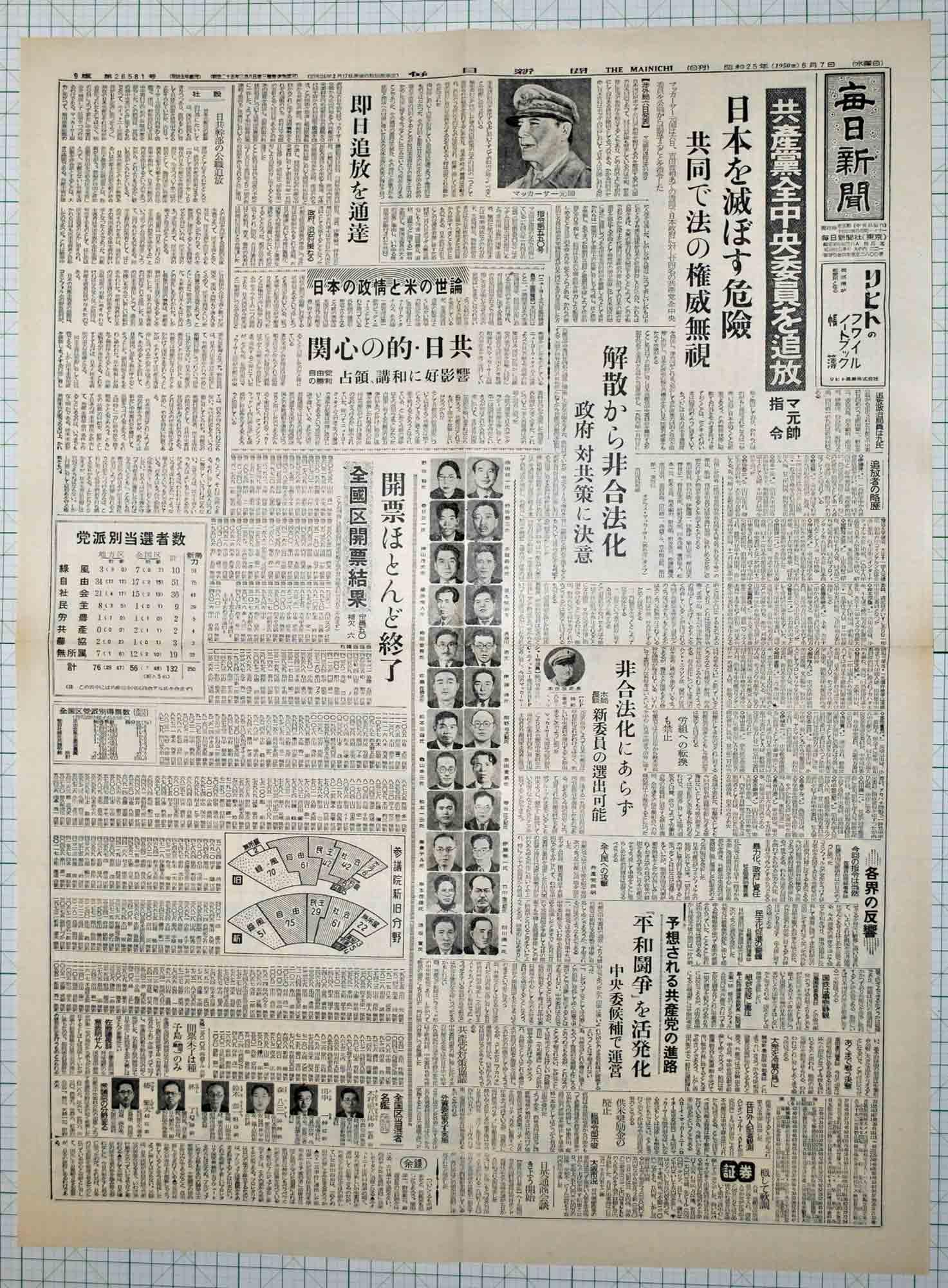 昭和25年6月7日毎日新聞 原寸複...