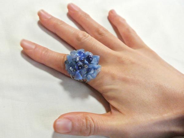 お花の指輪(ブルー)