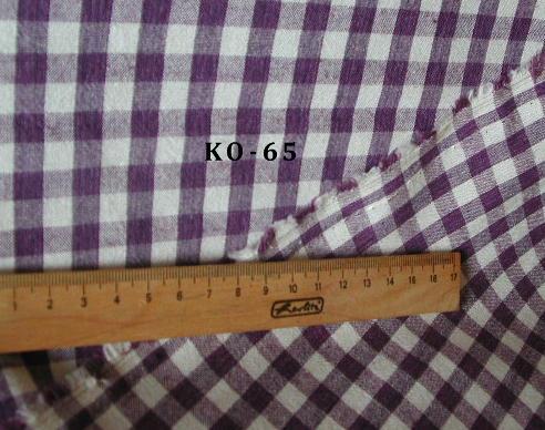 KO-65パープルブロックチェック<BR>¥1000/m(税抜き価格)<BR><BR>綿100%<BR>108cm幅