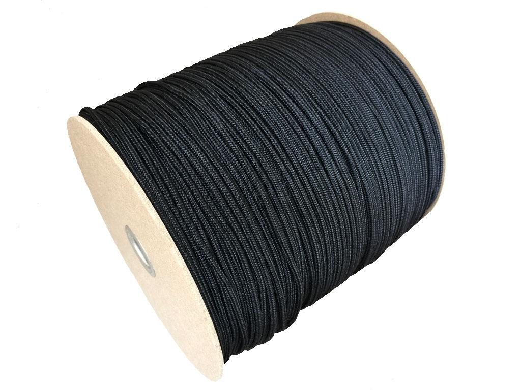 <b>ナイロン化繊で編組した 3φ組み紐 (黒)<br>300M ボビン巻</b>