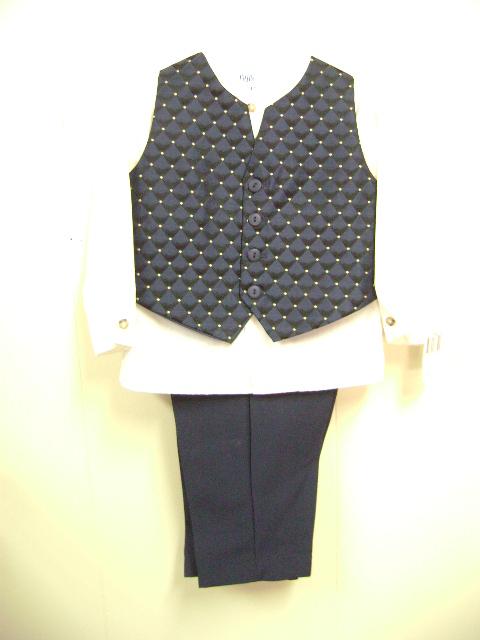 このベストスーツは、ベストがチェック柄、紺色にゴルドのドットが付いています。シャツは長袖、白です。