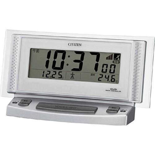 """【シチズン パルデジットボイスⅡ電波めざましデジタル音声時計(8RZ102-019)】<br>眼の不自由な方や、暗い場所での時間を確認するときなどに重宝される時計で、時計を見なくても、ボタンを押すだけで日本語音声で時刻を伝えてくれる電波めざましデジタル音声時計です。<br>現在時刻、カレンダー(日付・曜日)、温度、時報を音声でお知らせします。<br><b><font color=""""red"""" size=""""2"""">40%OFFのネット限定特別価格</font></b>でご提供します。<br>メーカー希望小売価格6,000円+税"""