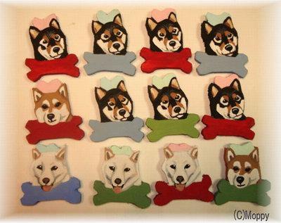 柴犬例 ボーンはビーズの色に合わせます