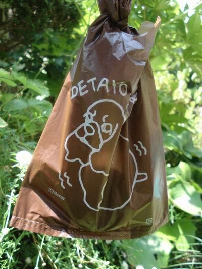 袋をくくって屋外で持ったイメージ
