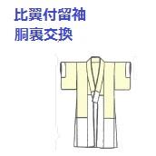 比翼付留袖の胴裏交換になります。