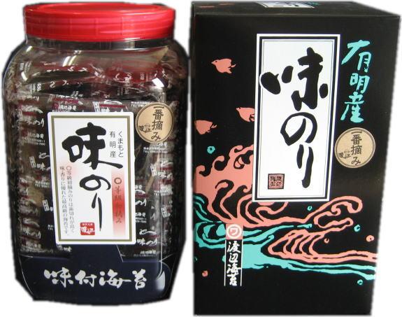 有明産初摘みのりを原料当店自慢のじっくり煮込んだ熊本風たれで味付けしました。