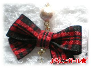 リボンピアス タータン赤 (赤・黒・コットンパール)