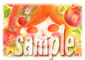 レトロよろしこガール☆と林檎(フルーツよろしこ)
