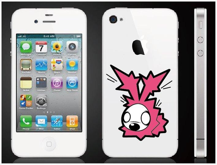 カラフルディズのステッカーの小をiPhone4Sに貼ったイメージ画像です※