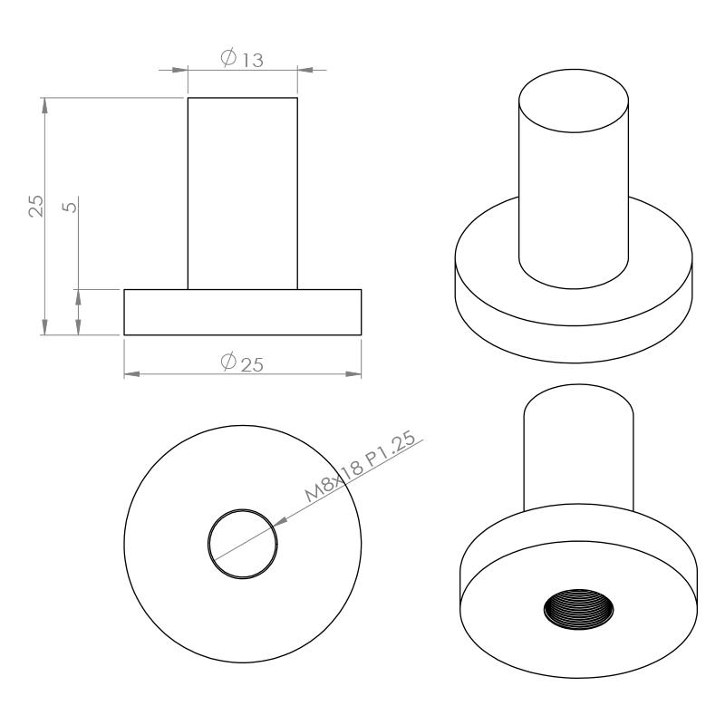 溶接用ナット非貫通M8 10p