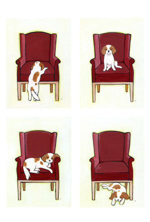 ポストカード:キャバリア[赤い椅子][BLENHEIM]