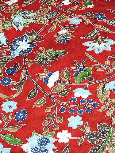 西川紬サテン手作り綿布団(赤)